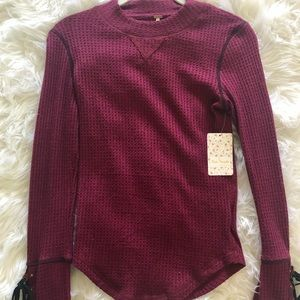 Free People Burgundy waffle knit sweater
